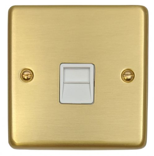 G&H CSB34W Standard Plate Satin Brushed Brass 1 Gang Slave BT Telephone Socket